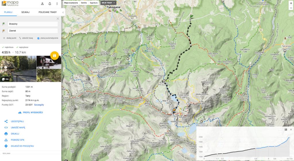 Planowanie trasy waplikacji Mapa turystyczna