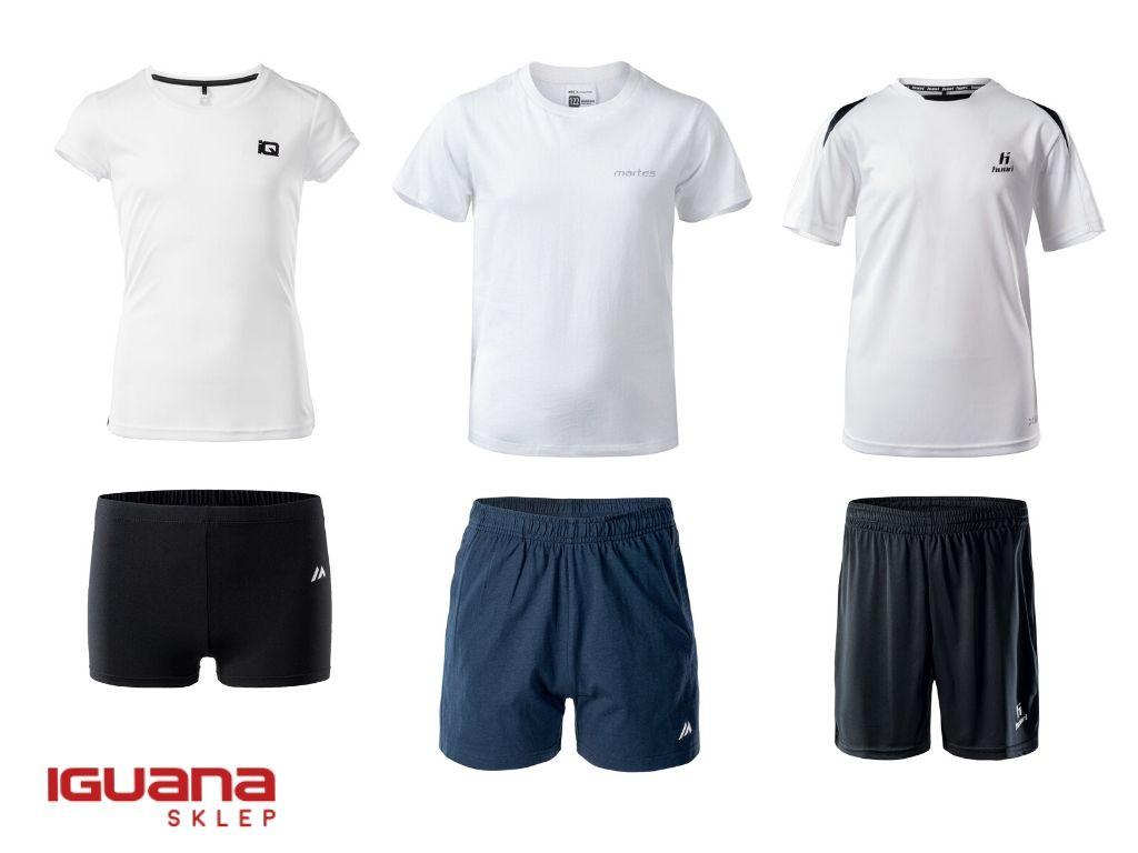Strój nawf: biała koszulka, ciemne spodenki